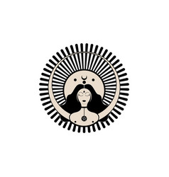 Wiccan woman icon triple goddess symbol moon vector