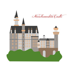 With landmark the neuschwanstein castle vector