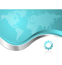world map with gear business background vector image
