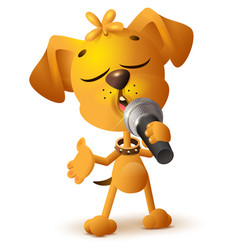 yellow dog singing solo microphone vector image