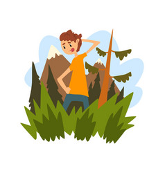 Young man got lost in the forest guy scratching vector