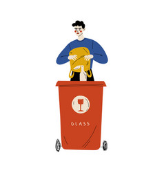 Young man throwing glass waste into garbage vector