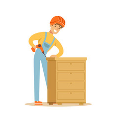 Young smiling carpenter man building chest of vector