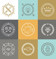 abstract hipster signs and logo design elements vector image vector image