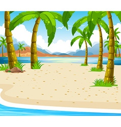 Beach scene with coconut trees vector image vector image