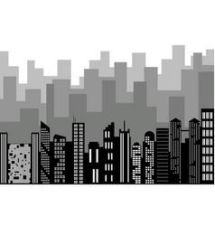 Black random city skyline cityscape on white vector