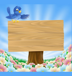 blue bird wooden nature sign vector image vector image
