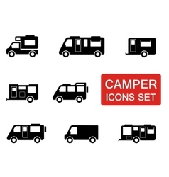 camper icon set vector image vector image