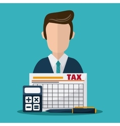 Document and man icon Tax and Financial item vector image vector image