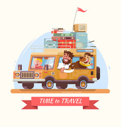 family summer vacation orange car with suitcases vector image vector image