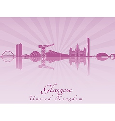 Glasgow skyline in purple radiant orchid vector image vector image