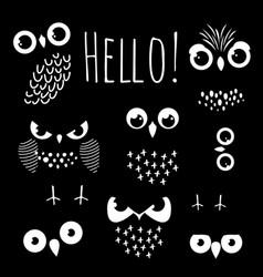 hello with cartoon owl eyes vector image