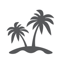 island and palm icon flat vector image vector image