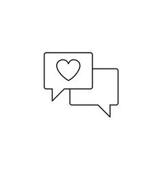 Love chat line icon heart in speech bubble vector