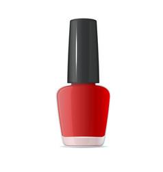 red nail polish bottle on white background vector image