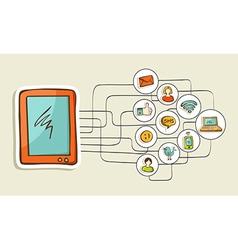Social media tablet computer concept vector image vector image