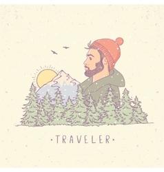 traveler mountain color vector image vector image