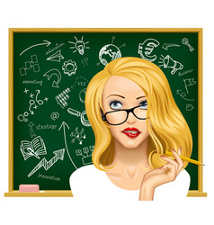 blonde business woman in glasses near the vector image