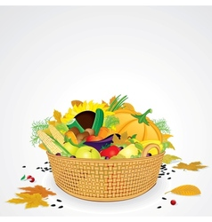 Thanksgiving Basket with Vegetables and Fruits vector image