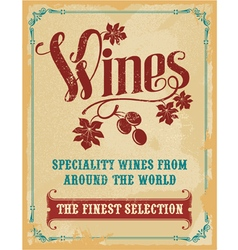 Vintage wine poster sign vector image vector image