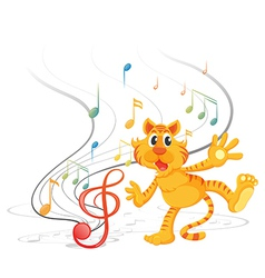 A tiger with musical notes vector image