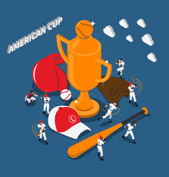 american cup baseball game isometric vector image