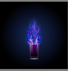 burning drink alcohol cocktail shot vector image vector image