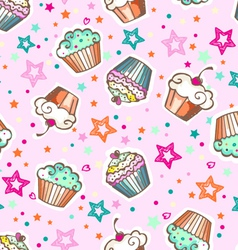 Cute pink cupcakes vector
