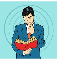 hand drawn pop art of businessman holding book in vector image vector image