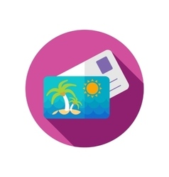 Card with palm flat icon long shadow vector image vector image
