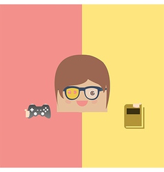cartoon doodle man rectangle play games and love r vector image vector image