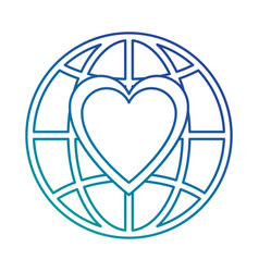 planet with heart icon vector image