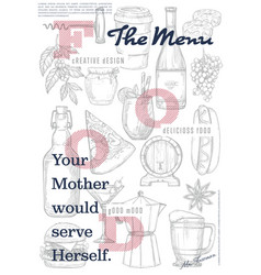 restaurant or cafe menu cover page vector image vector image