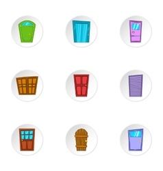 Security door icons set cartoon style vector