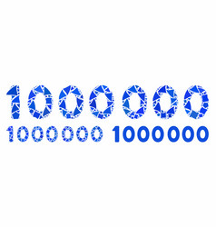 1000000 digits text mosaic icon inequal items vector