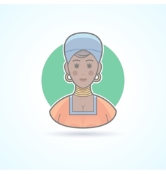 African woman in traditional cloth female icon vector