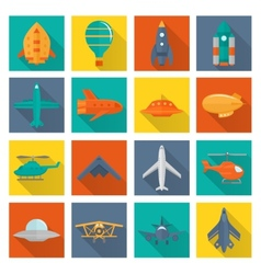 Aircraft icons set vector