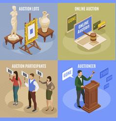 auction isometric concept set vector image