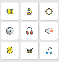 Audio colored outlines set collection of volume vector