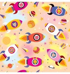 Baby animals in spaceships kids pattern vector