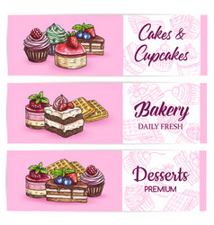 bakery sweets and desserts banners vector image