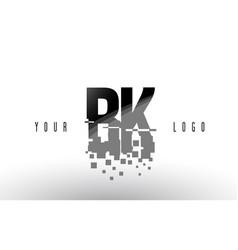 bk b k pixel letter logo with digital shattered vector image