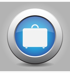 Blue metal button with luggage vector