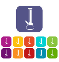 bong for smoking marijuana icons set vector image