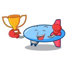 Boxing winner zeppelin mascot cartoon style vector