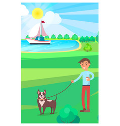 Boy walking dog in park with lake on background vector