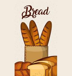 Bread fresh bakery baguette toast vertical banner vector