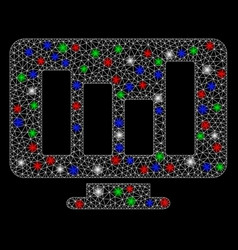 bright mesh network bar chart monitoring with vector image
