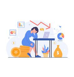 business problem profit drop unmotivated manager vector image