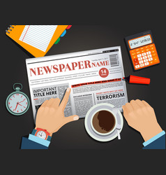 businessman reading newspaper at the breakfast vector image